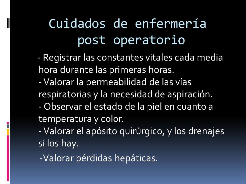 Cuidados de enfermería post operatorio - Registrar las constantes vitales cada media hora durante las primeras horas. - Valorar la permeabilidad de la