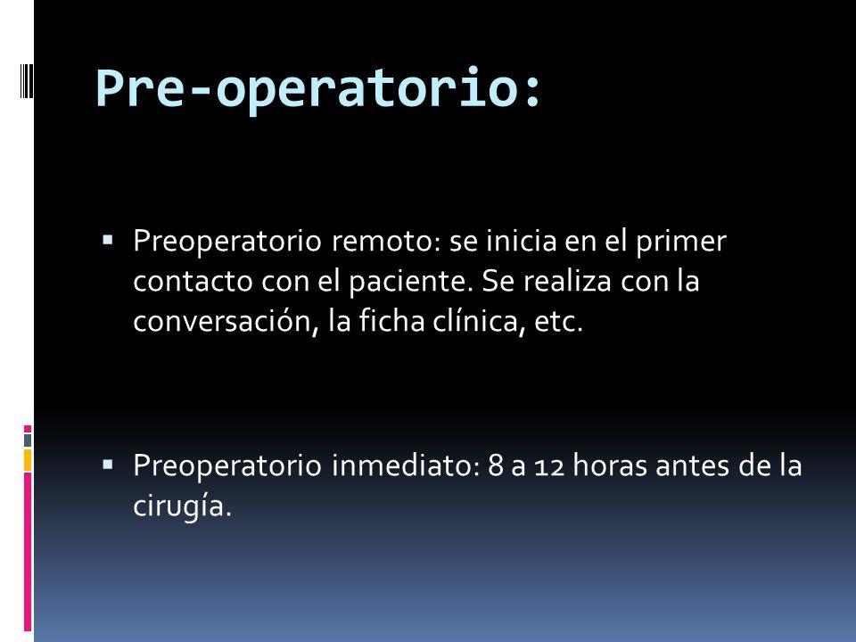 Pre-operatorio:  Preoperatorio remoto: se inicia en el primer contacto con el paciente. Se realiza con la conversación, la ficha clínica, etc.  Preo
