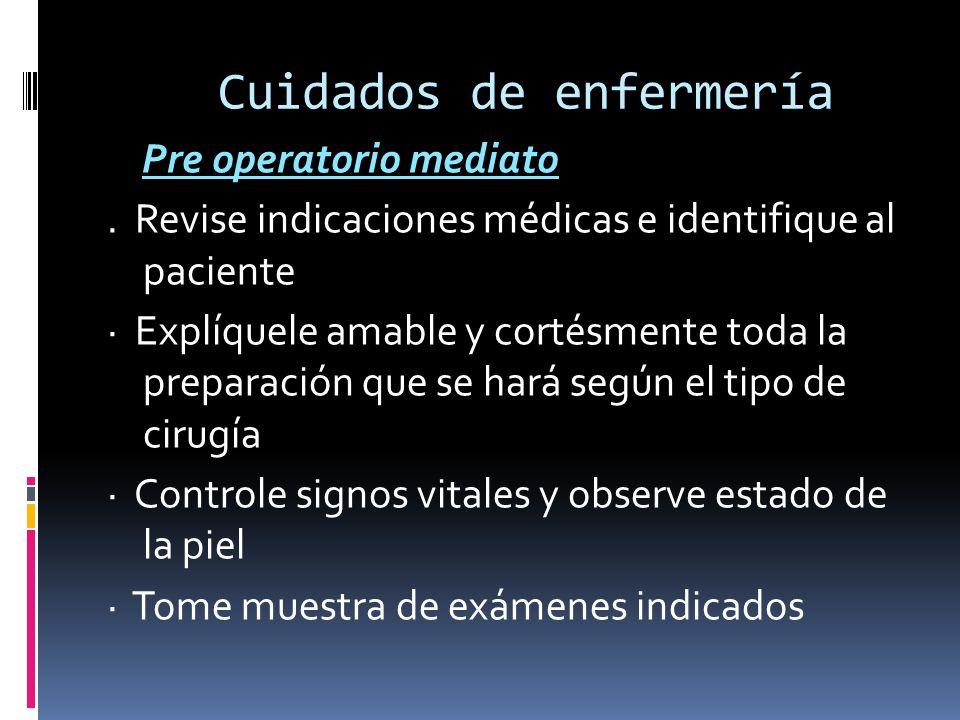Cuidados de enfermería Pre operatorio mediato. Revise indicaciones médicas e identifique al paciente · Explíquele amable y cortésmente toda la prepara