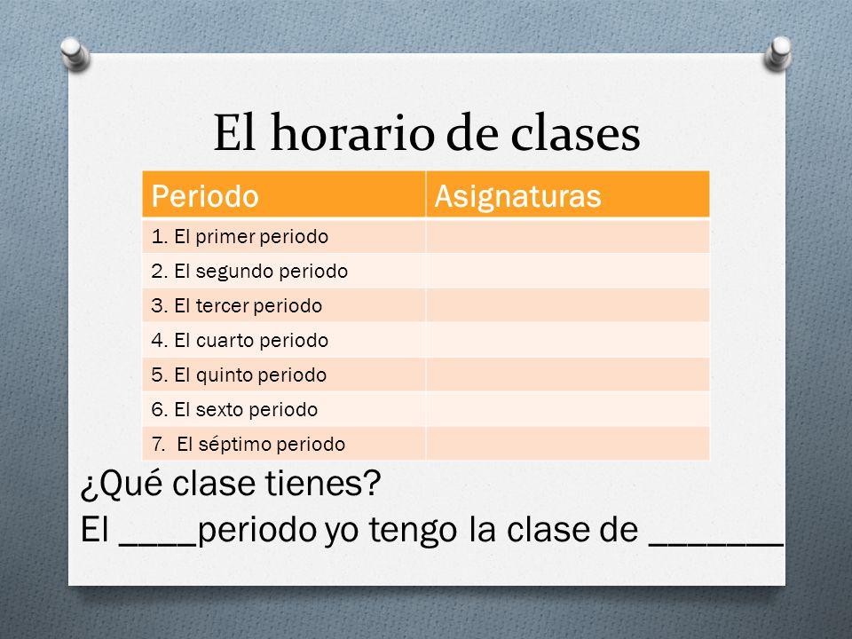 El horario de clases PeriodoAsignaturas 1.El primer periodo 2.