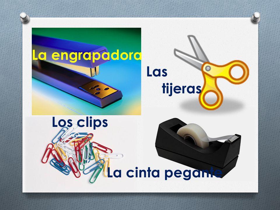 La engrapadora Las tijeras Los clips La cinta pegante