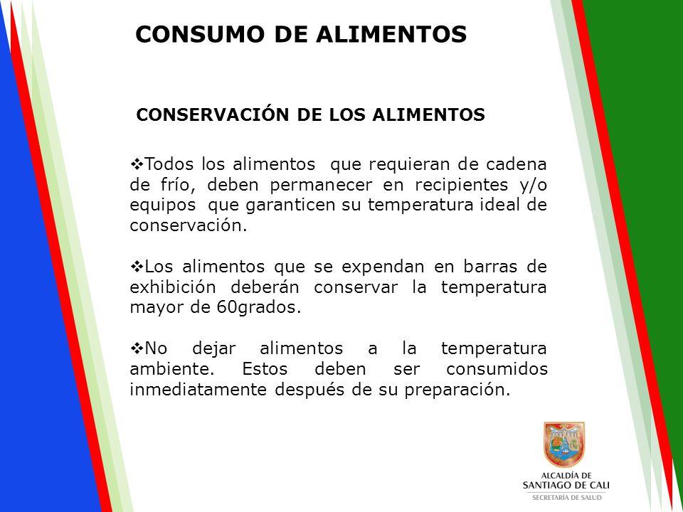  Todos los alimentos que requieran de cadena de frío, deben permanecer en recipientes y/o equipos que garanticen su temperatura ideal de conservación.