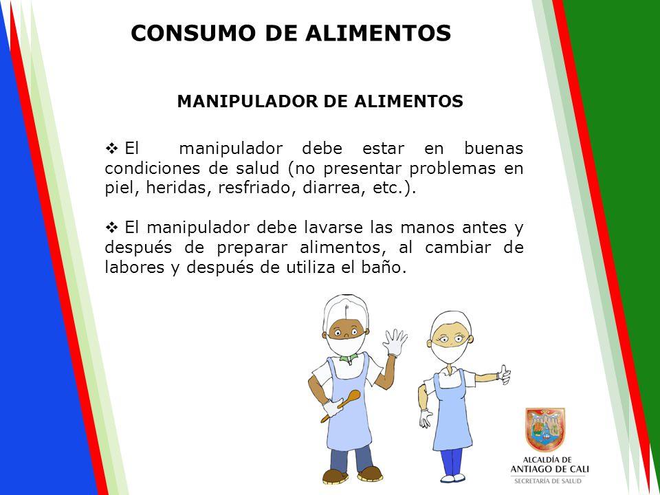  El manipulador debe estar en buenas condiciones de salud (no presentar problemas en piel, heridas, resfriado, diarrea, etc.).  El manipulador debe
