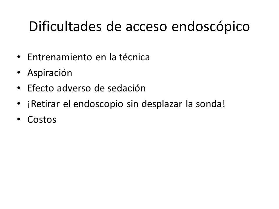 Dificultades de acceso endoscópico Entrenamiento en la técnica Aspiración Efecto adverso de sedación ¡Retirar el endoscopio sin desplazar la sonda! Co