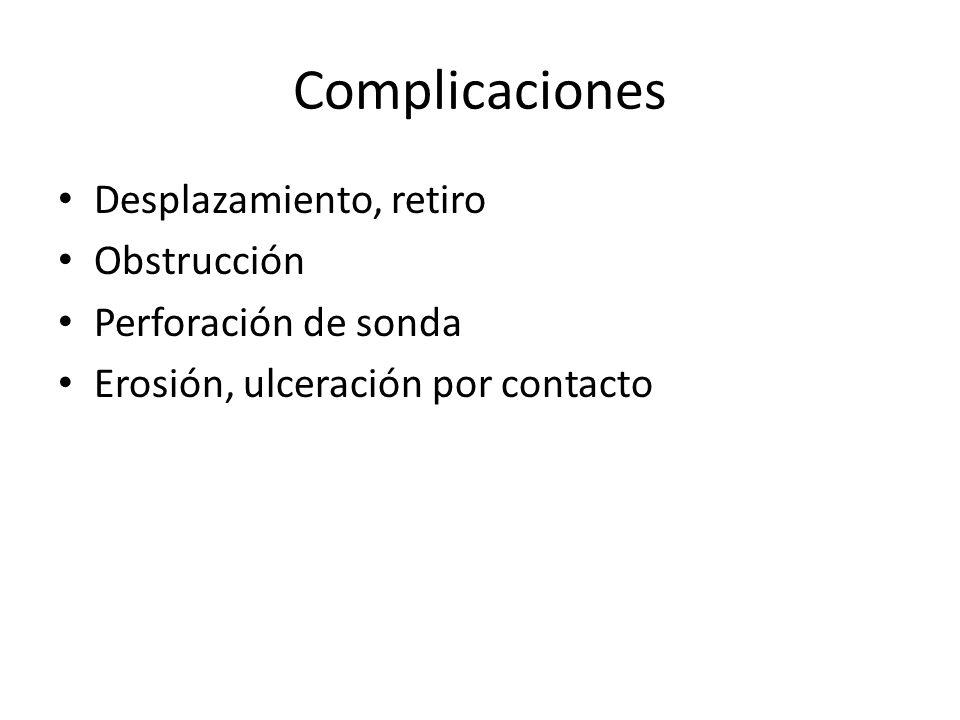 Complicaciones Desplazamiento, retiro Obstrucción Perforación de sonda Erosión, ulceración por contacto