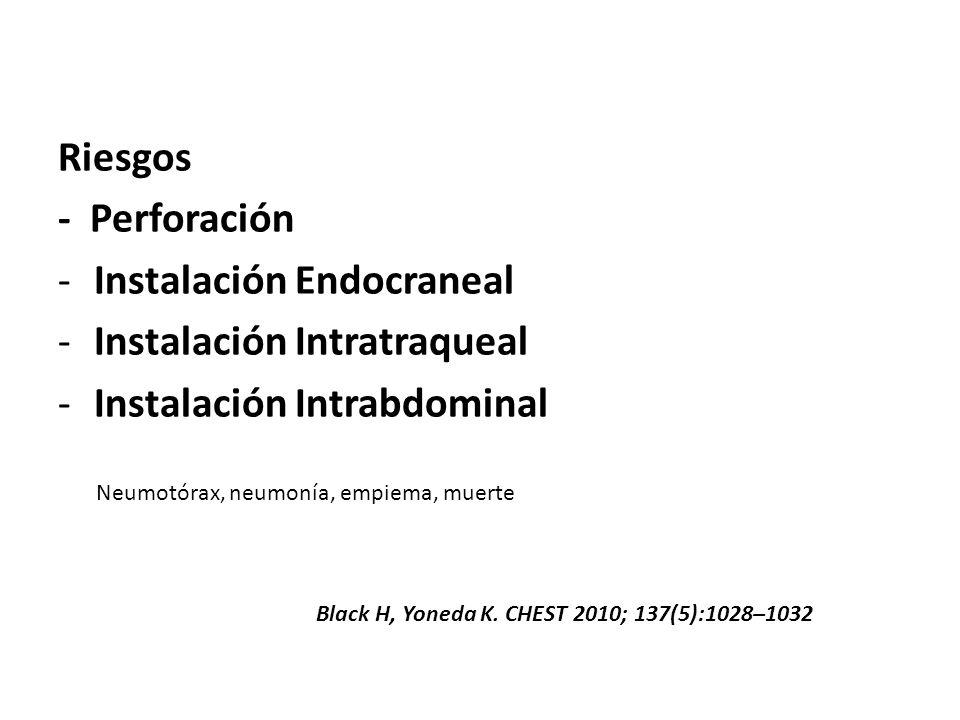 Riesgos - Perforación -Instalación Endocraneal -Instalación Intratraqueal -Instalación Intrabdominal Neumotórax, neumonía, empiema, muerte Black H, Yo