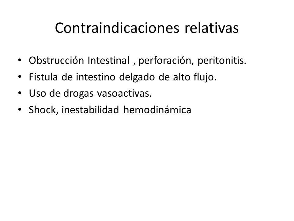 Contraindicaciones relativas Obstrucción Intestinal, perforación, peritonitis. Fístula de intestino delgado de alto flujo. Uso de drogas vasoactivas.