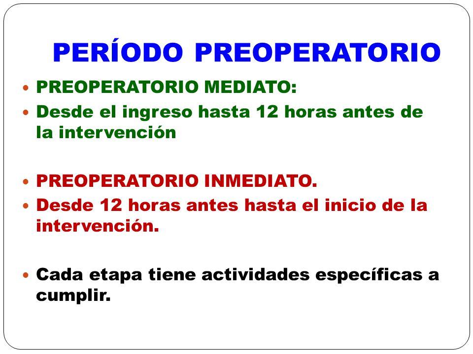 PREOPERATORIO MEDIATO: Ingreso médico y de enfermería.
