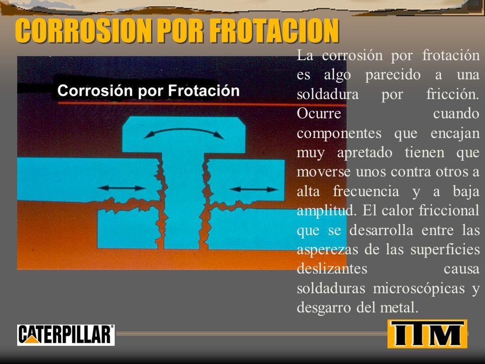 CORROSION POR FROTACION La corrosión por frotación es algo parecido a una soldadura por fricción. Ocurre cuando componentes que encajan muy apretado t