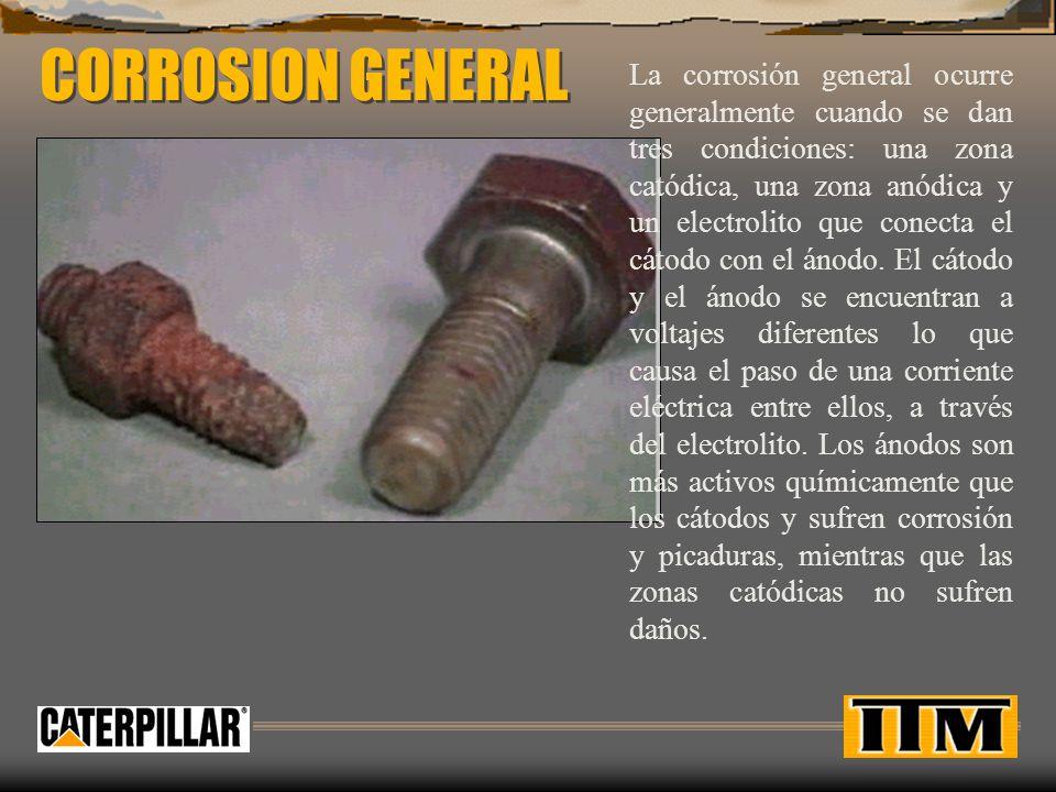 CORROSION GENERAL La corrosión general ocurre generalmente cuando se dan tres condiciones: una zona catódica, una zona anódica y un electrolito que co