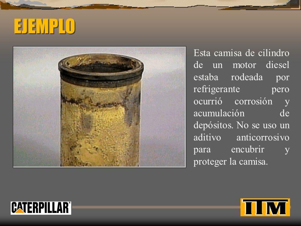 EJEMPLO Esta camisa de cilindro de un motor diesel estaba rodeada por refrigerante pero ocurrió corrosión y acumulación de depósitos. No se uso un adi