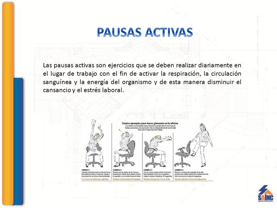 Las pausas activas son ejercicios que se deben realizar diariamente en el lugar de trabajo con el fin de activar la respiración, la circulación sanguí