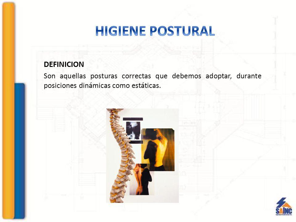 DEFINICION Son aquellas posturas correctas que debemos adoptar, durante posiciones dinámicas como estáticas.