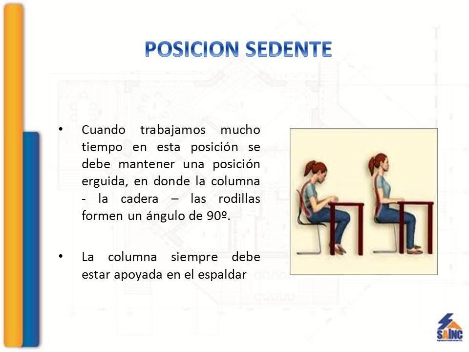 Cuando trabajamos mucho tiempo en esta posición se debe mantener una posición erguida, en donde la columna - la cadera – las rodillas formen un ángulo
