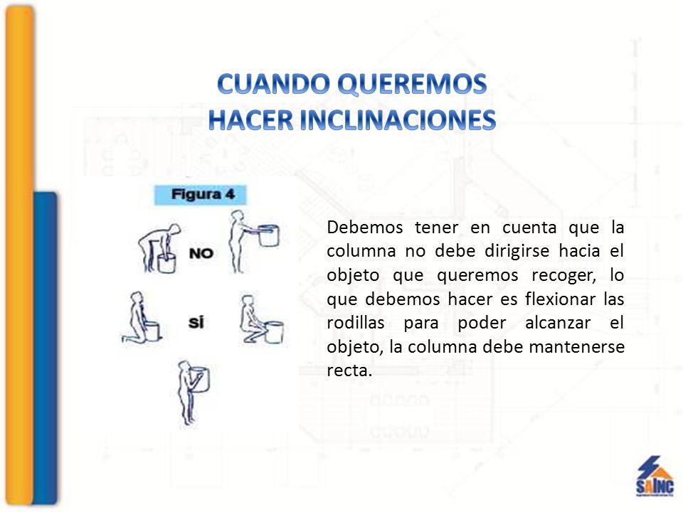 Debemos tener en cuenta que la columna no debe dirigirse hacia el objeto que queremos recoger, lo que debemos hacer es flexionar las rodillas para pod