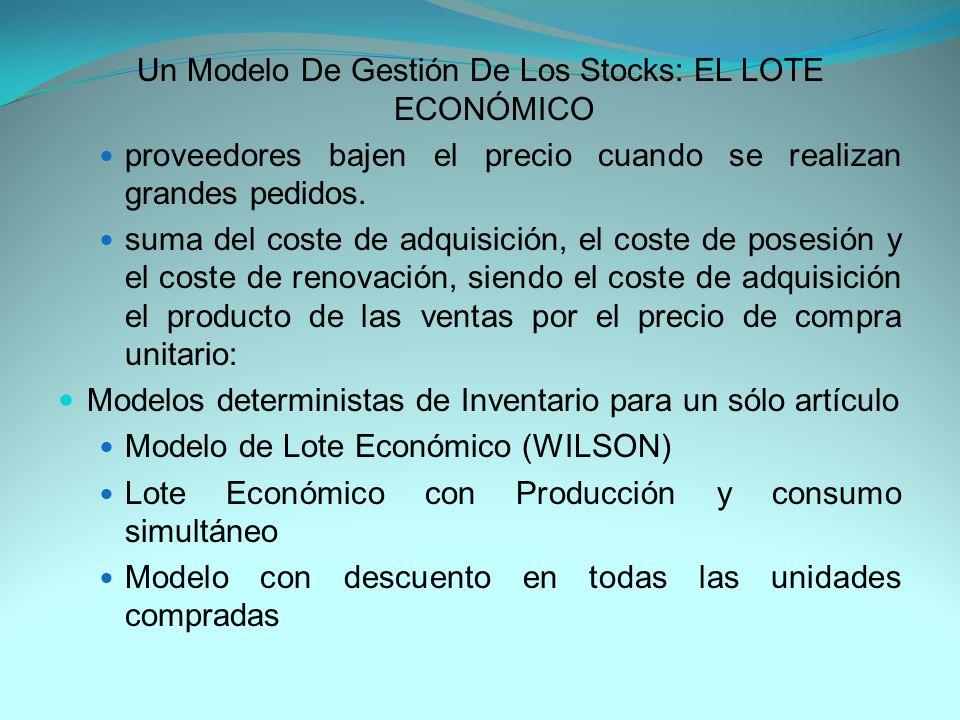 Un Modelo De Gestión De Los Stocks: EL LOTE ECONÓMICO proveedores bajen el precio cuando se realizan grandes pedidos.