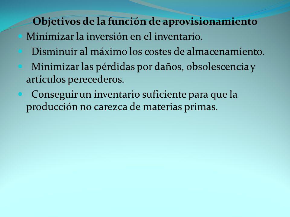 Objetivos de la función de aprovisionamiento Minimizar la inversión en el inventario.