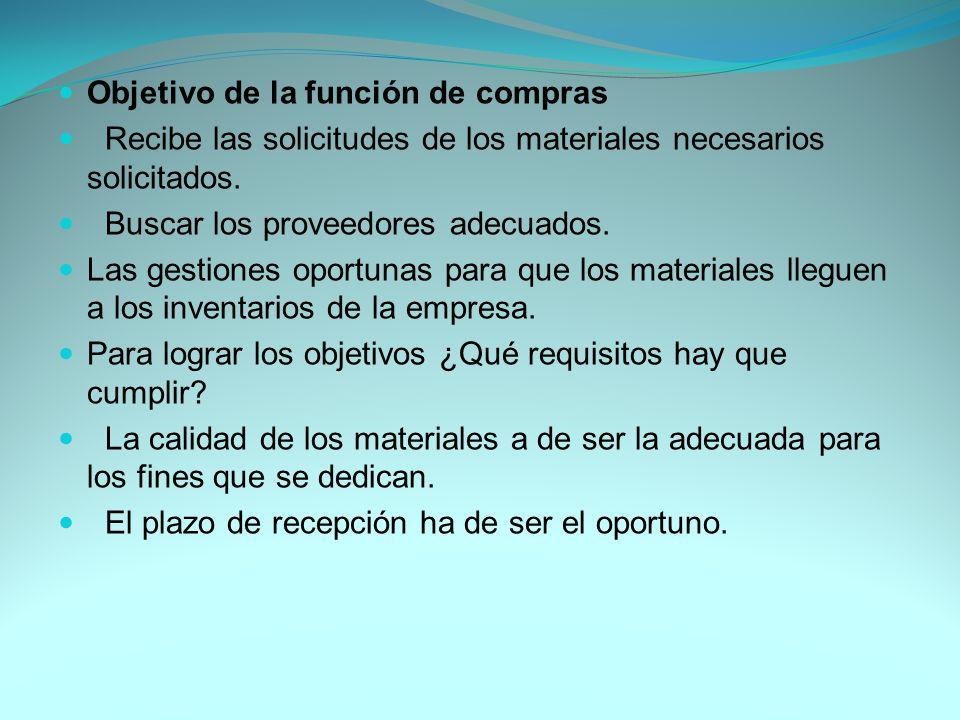 Objetivo de la función de compras Recibe las solicitudes de los materiales necesarios solicitados.