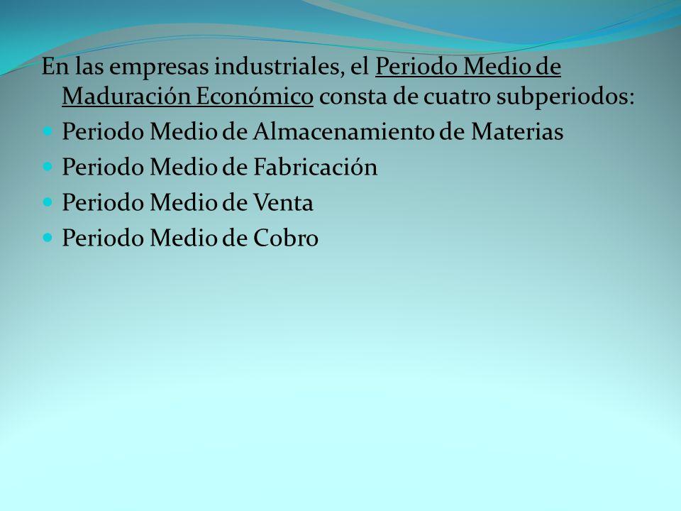 En las empresas industriales, el Periodo Medio de Maduración Económico consta de cuatro subperiodos: Periodo Medio de Almacenamiento de Materias Periodo Medio de Fabricación Periodo Medio de Venta Periodo Medio de Cobro