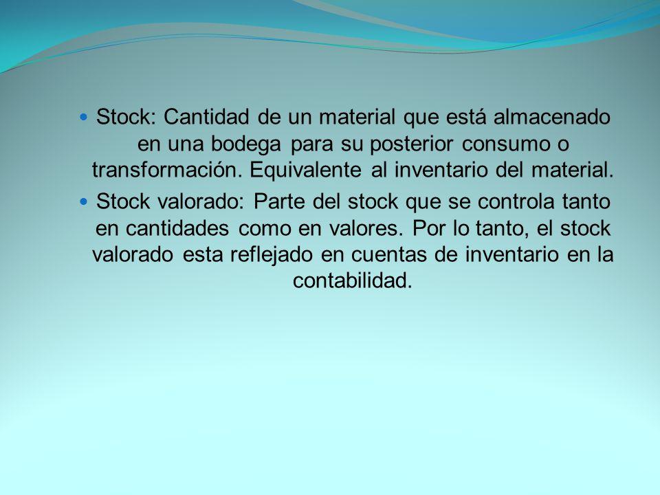 Stock: Cantidad de un material que está almacenado en una bodega para su posterior consumo o transformación.