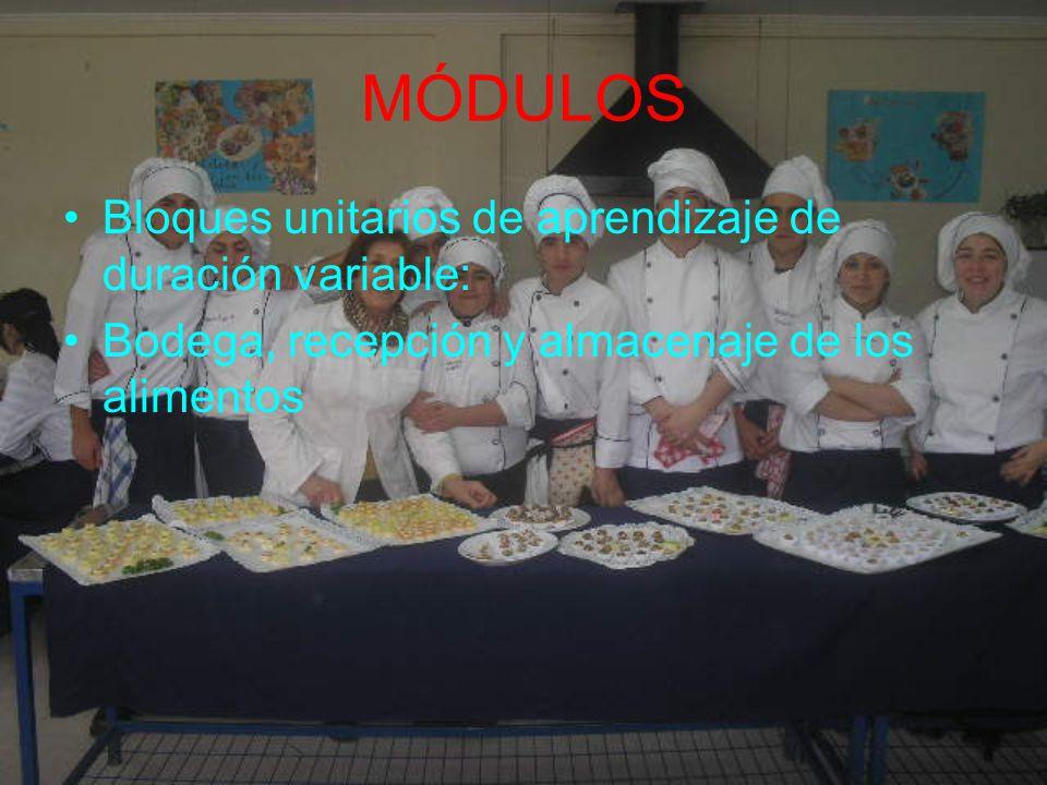 MÓDULOS Bloques unitarios de aprendizaje de duración variable: Bodega, recepción y almacenaje de los alimentos