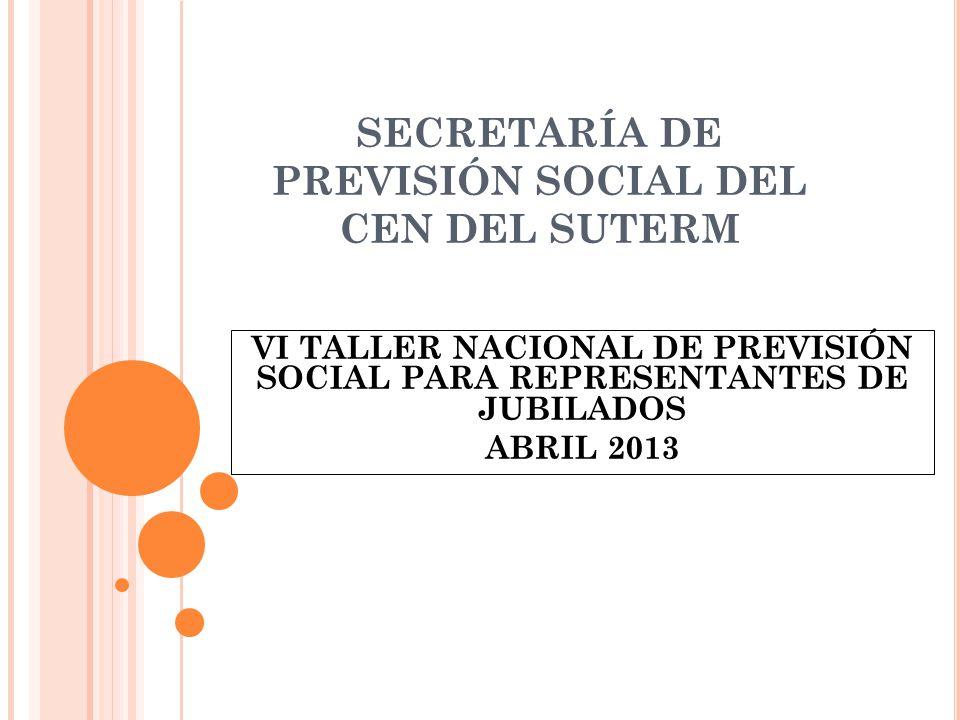 SECRETARÍA DE PREVISIÓN SOCIAL DEL CEN DEL SUTERM VI TALLER NACIONAL DE PREVISIÓN SOCIAL PARA REPRESENTANTES DE JUBILADOS ABRIL 2013
