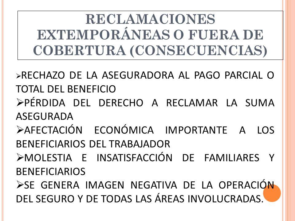 RECLAMACIONES EXTEMPORÁNEAS O FUERA DE COBERTURA (CONSECUENCIAS)  RECHAZO DE LA ASEGURADORA AL PAGO PARCIAL O TOTAL DEL BENEFICIO  PÉRDIDA DEL DERECHO A RECLAMAR LA SUMA ASEGURADA  AFECTACIÓN ECONÓMICA IMPORTANTE A LOS BENEFICIARIOS DEL TRABAJADOR  MOLESTIA E INSATISFACCIÓN DE FAMILIARES Y BENEFICIARIOS  SE GENERA IMAGEN NEGATIVA DE LA OPERACIÓN DEL SEGURO Y DE TODAS LAS ÁREAS INVOLUCRADAS.