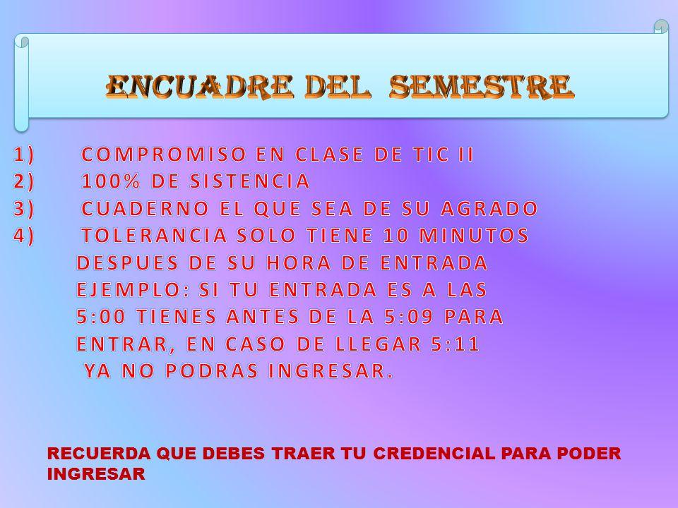 I.PRESENTACIÓN II.ENCUADRE DEL SEMESTRE III.REGLAMENTO DE MACROSALA ...