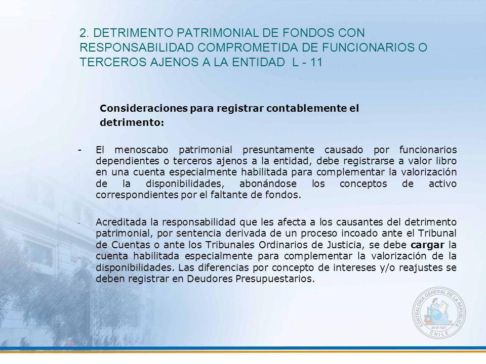 2. DETRIMENTO PATRIMONIAL DE FONDOS CON RESPONSABILIDAD COMPROMETIDA DE FUNCIONARIOS O TERCEROS AJENOS A LA ENTIDAD L - 11 Consideraciones para regist