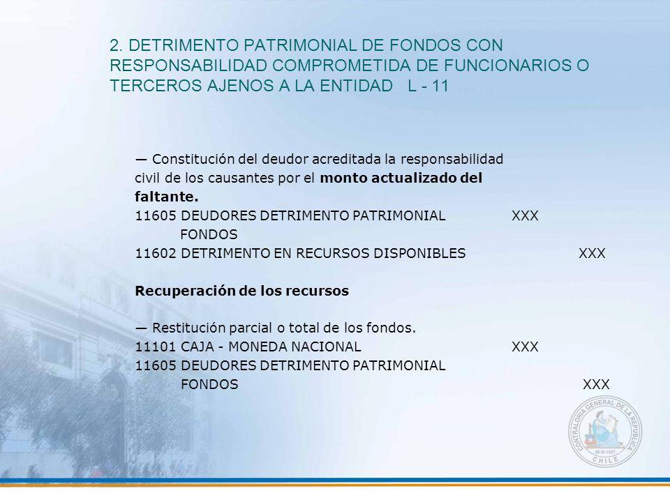 2. DETRIMENTO PATRIMONIAL DE FONDOS CON RESPONSABILIDAD COMPROMETIDA DE FUNCIONARIOS O TERCEROS AJENOS A LA ENTIDAD L - 11 — Constitución del deudor a