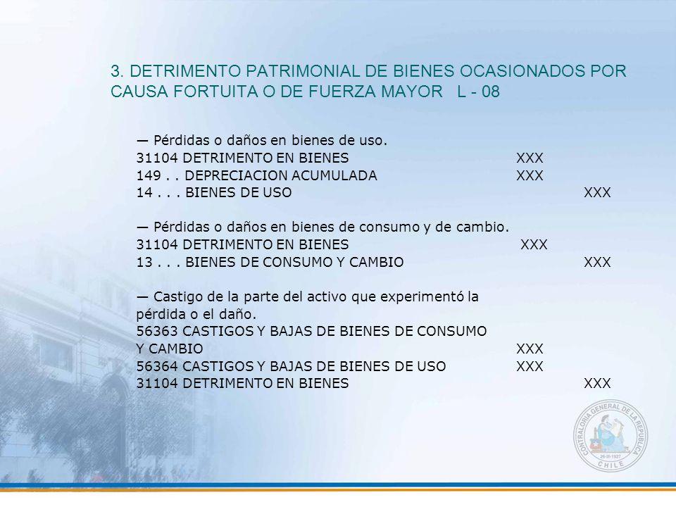 3. DETRIMENTO PATRIMONIAL DE BIENES OCASIONADOS POR CAUSA FORTUITA O DE FUERZA MAYOR L - 08 — Pérdidas o daños en bienes de uso. 31104 DETRIMENTO EN B