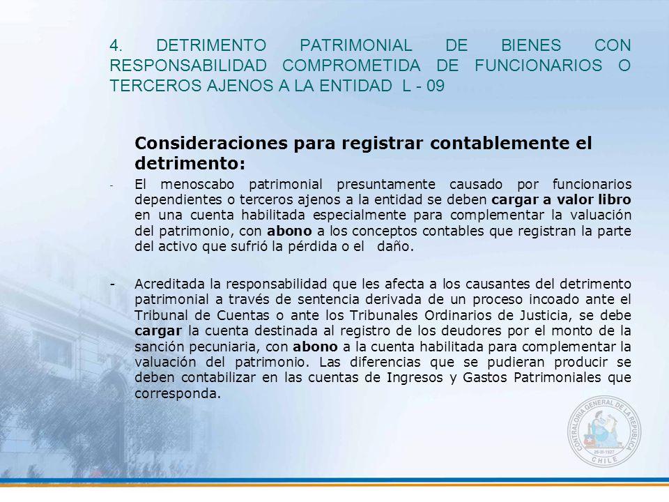 4. DETRIMENTO PATRIMONIAL DE BIENES CON RESPONSABILIDAD COMPROMETIDA DE FUNCIONARIOS O TERCEROS AJENOS A LA ENTIDAD L - 09 Consideraciones para regist
