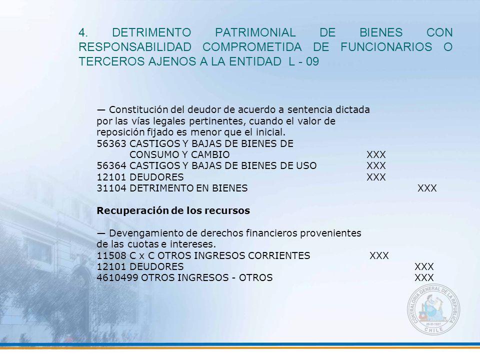 4. DETRIMENTO PATRIMONIAL DE BIENES CON RESPONSABILIDAD COMPROMETIDA DE FUNCIONARIOS O TERCEROS AJENOS A LA ENTIDAD L - 09 — Constitución del deudor d