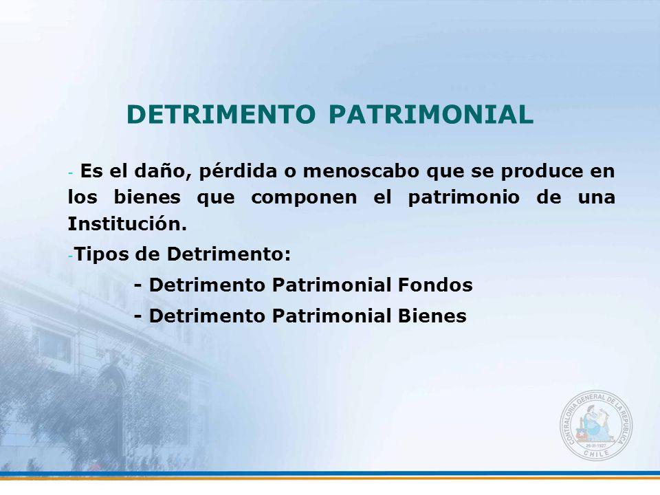 DETRIMENTO PATRIMONIAL - Es el daño, pérdida o menoscabo que se produce en los bienes que componen el patrimonio de una Institución.