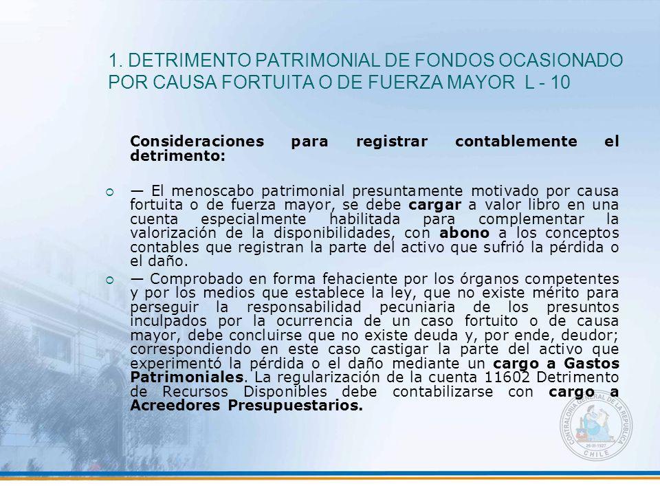 1. DETRIMENTO PATRIMONIAL DE FONDOS OCASIONADO POR CAUSA FORTUITA O DE FUERZA MAYOR L - 10 Consideraciones para registrar contablemente el detrimento: