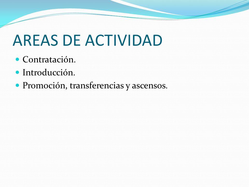 AREAS DE ACTIVIDAD Contratación. Introducción. Promoción, transferencias y ascensos.