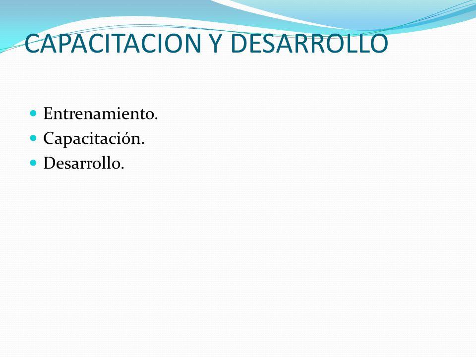 CAPACITACION Y DESARROLLO Entrenamiento. Capacitación. Desarrollo.