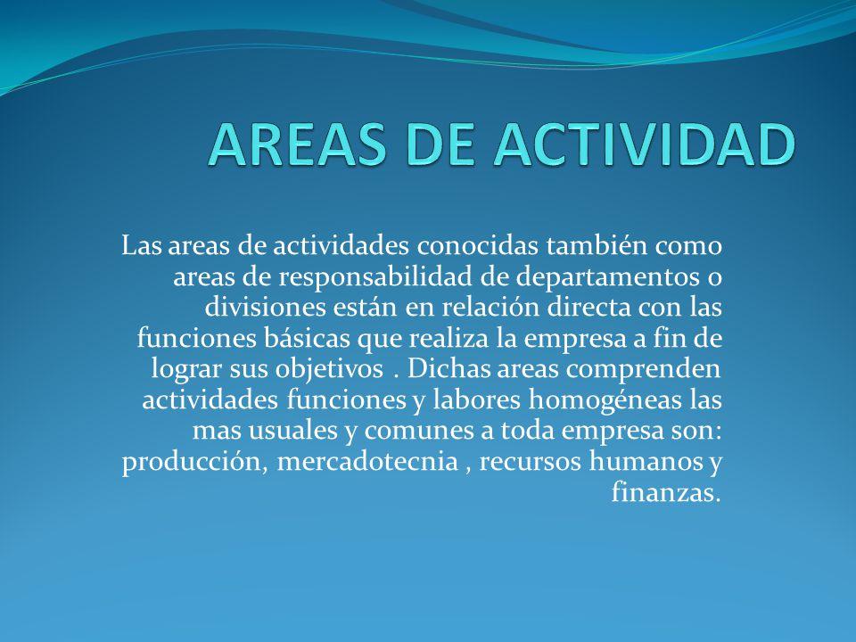 Las areas de actividades conocidas también como areas de responsabilidad de departamentos o divisiones están en relación directa con las funciones básicas que realiza la empresa a fin de lograr sus objetivos.