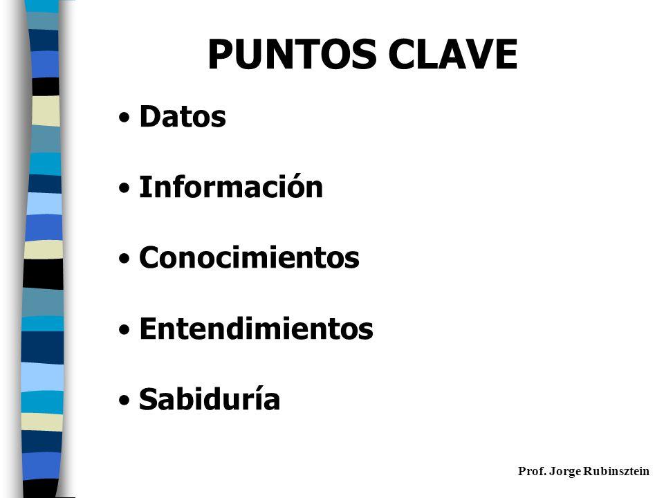 Prof. Jorge Rubinsztein PUNTOS CLAVE Datos Información Conocimientos Entendimientos Sabiduría