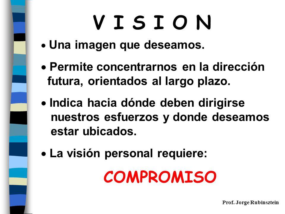 Prof.Jorge Rubinsztein V I S I O N  Una imagen que deseamos.