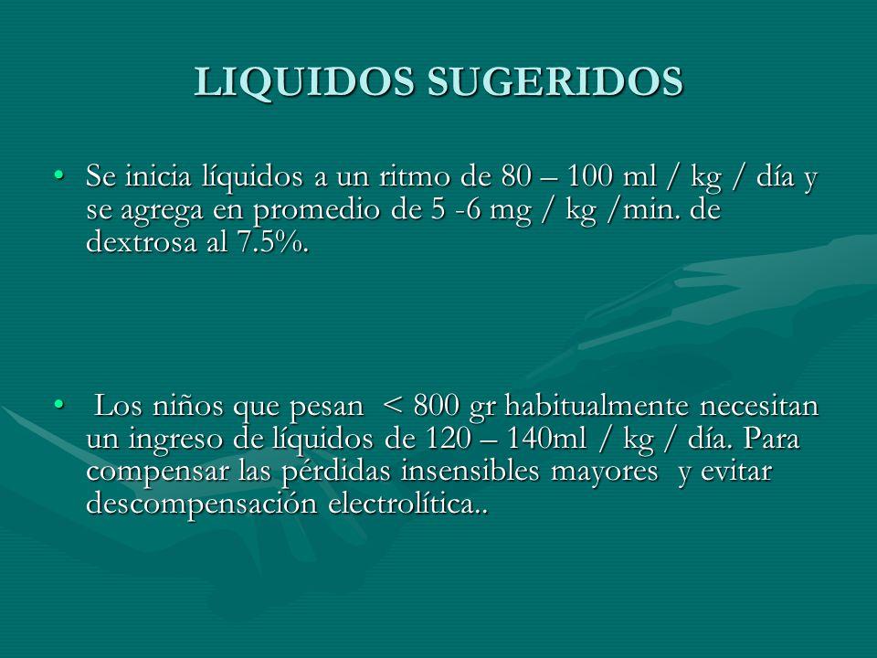 LIQUIDOS SUGERIDOS Se inicia líquidos a un ritmo de 80 – 100 ml / kg / día y se agrega en promedio de 5 -6 mg / kg /min.