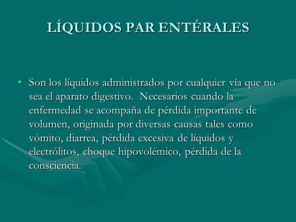 LÍQUIDOS PAR ENTÉRALES Son los líquidos administrados por cualquier vía que no sea el aparato digestivo.
