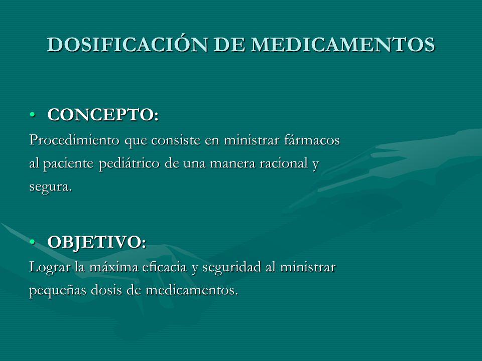 DOSIFICACIÓN DE MEDICAMENTOS CONCEPTO:CONCEPTO: Procedimiento que consiste en ministrar fármacos al paciente pediátrico de una manera racional y segura.