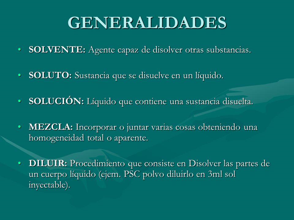 GENERALIDADES SOLVENTE: Agente capaz de disolver otras substancias.SOLVENTE: Agente capaz de disolver otras substancias.