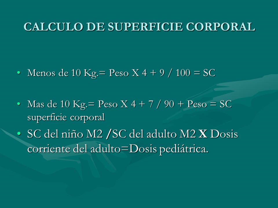 CALCULO DE SUPERFICIE CORPORAL Menos de 10 Kg.= Peso X 4 + 9 / 100 = SCMenos de 10 Kg.= Peso X 4 + 9 / 100 = SC Mas de 10 Kg.= Peso X 4 + 7 / 90 + Peso = SC superficie corporalMas de 10 Kg.= Peso X 4 + 7 / 90 + Peso = SC superficie corporal SC del niño M2 /SC del adulto M2 X Dosis corriente del adulto=Dosis pediátrica.SC del niño M2 /SC del adulto M2 X Dosis corriente del adulto=Dosis pediátrica.