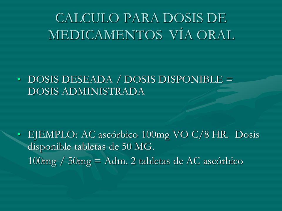 CALCULO PARA DOSIS DE MEDICAMENTOS VÍA ORAL DOSIS DESEADA / DOSIS DISPONIBLE = DOSIS ADMINISTRADADOSIS DESEADA / DOSIS DISPONIBLE = DOSIS ADMINISTRADA EJEMPLO: AC ascórbico 100mg VO C/8 HR.
