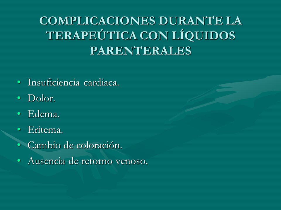 COMPLICACIONES DURANTE LA TERAPEÚTICA CON LÍQUIDOS PARENTERALES Insuficiencia cardiaca.Insuficiencia cardiaca.