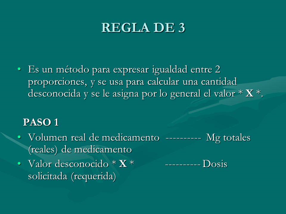 REGLA DE 3 Es un método para expresar igualdad entre 2 proporciones, y se usa para calcular una cantidad desconocida y se le asigna por lo general el valor * X *.Es un método para expresar igualdad entre 2 proporciones, y se usa para calcular una cantidad desconocida y se le asigna por lo general el valor * X *.