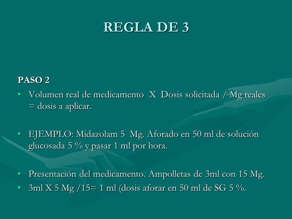 REGLA DE 3 PASO 2 Volumen real de medicamento X Dosis solicitada / Mg reales = dosis a aplicar.Volumen real de medicamento X Dosis solicitada / Mg reales = dosis a aplicar.