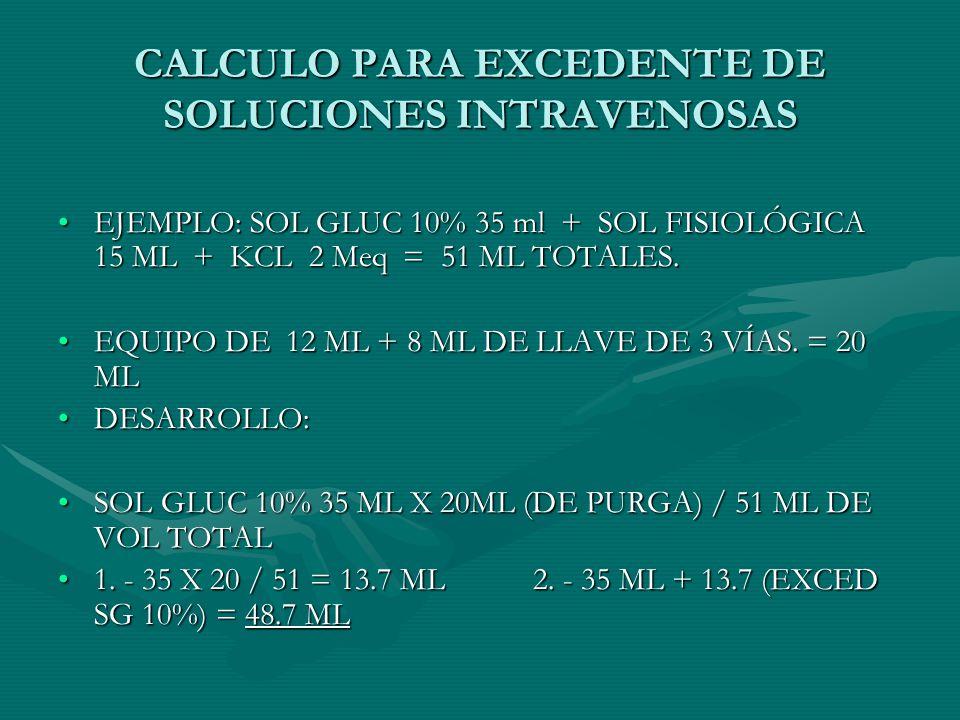 CALCULO PARA EXCEDENTE DE SOLUCIONES INTRAVENOSAS EJEMPLO: SOL GLUC 10% 35 ml + SOL FISIOLÓGICA 15 ML + KCL 2 Meq = 51 ML TOTALES.EJEMPLO: SOL GLUC 10% 35 ml + SOL FISIOLÓGICA 15 ML + KCL 2 Meq = 51 ML TOTALES.